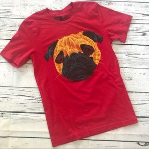 Pug T-shirt red short sleeve graphic dog tee top